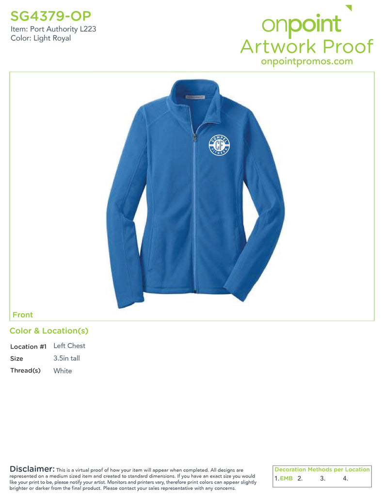 Compel Fitness Ladies Microfleece Jacket - Light Royal