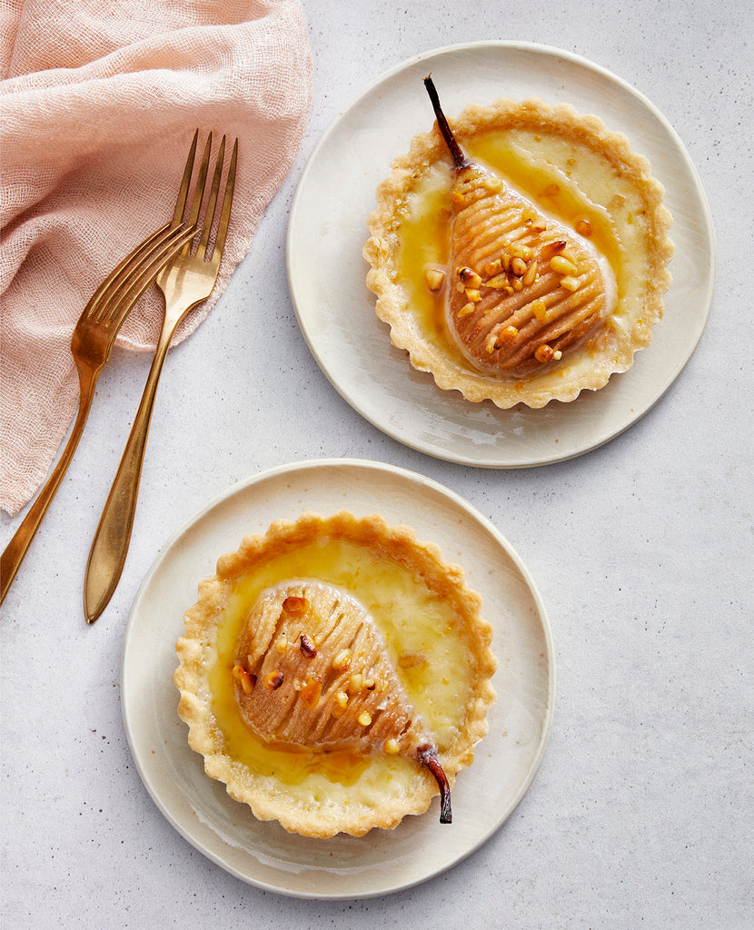 White Chocolate Custard Tarts with Honey & Thyme Roasted Pears