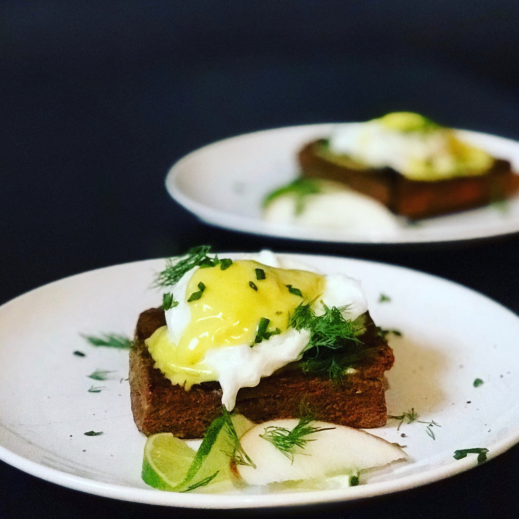 Recipe: Poached Eggs on Pumpernickel Scones with Turmeric-Lime Aioli