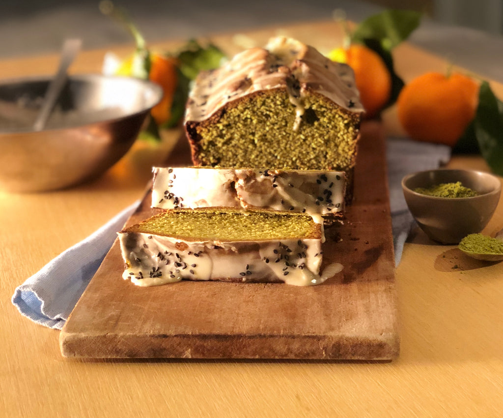 Recipe: Matcha-White Chocolate Pound Cake with Tangerine-Black Sesame Seed Glaze