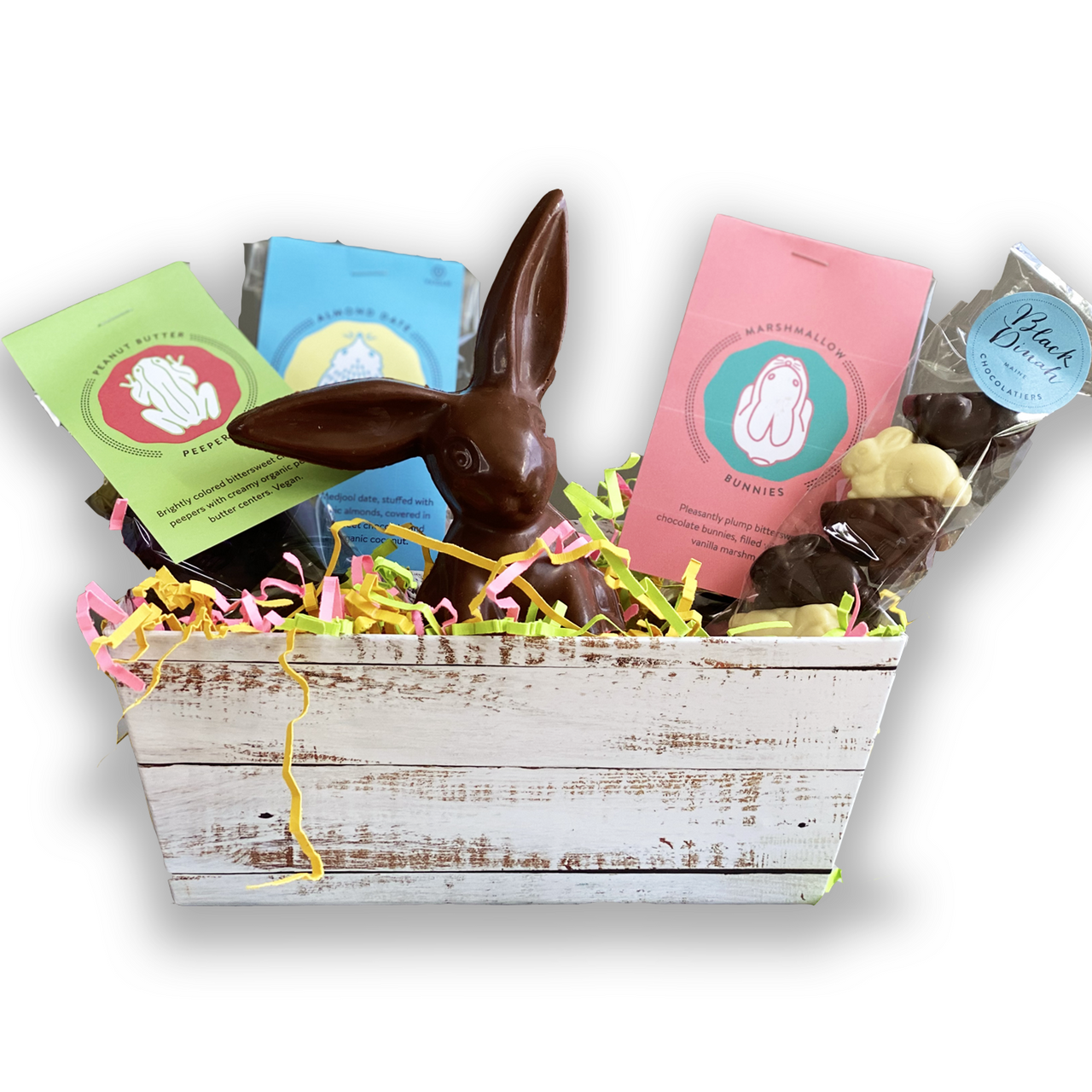 Spring Bunny Easter Gift Box with Frogs on a Log