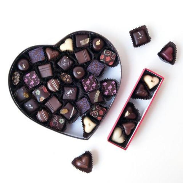 Valentine's Day Chocolate Heart Shaped Box and Heart Shaped Truffles