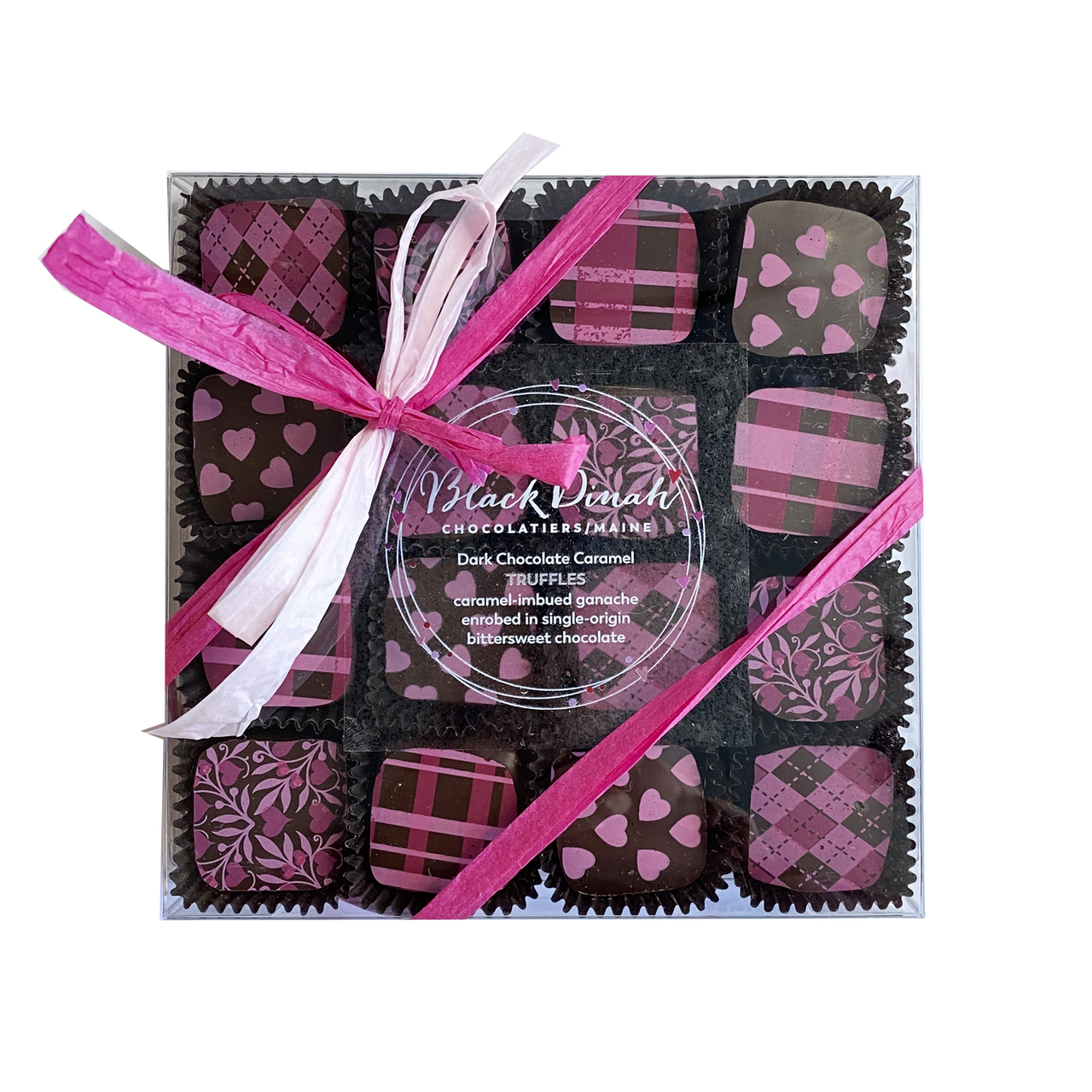 Mother's Day Pink Hearts Dark Chocolate Caramel Truffles