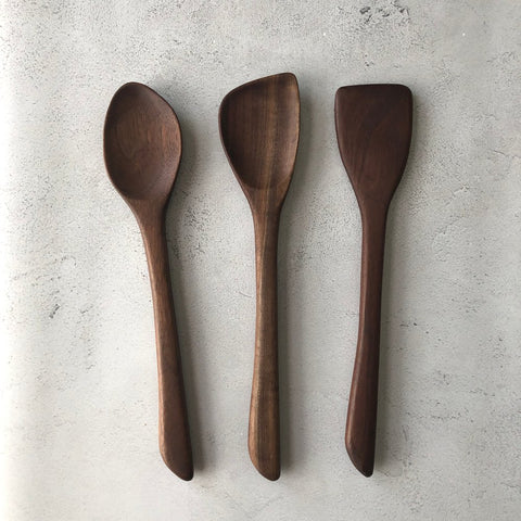 3-Piece Wood Kitchen Utensil Set (Walnut)