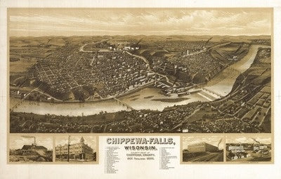 Chippewa Falls Panoramic Map 1907 Print (12x18)