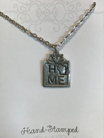 Square Pewter WI Home Necklace