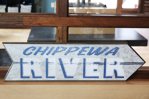 Chippewa River Arrow - Right Wooden Sign
