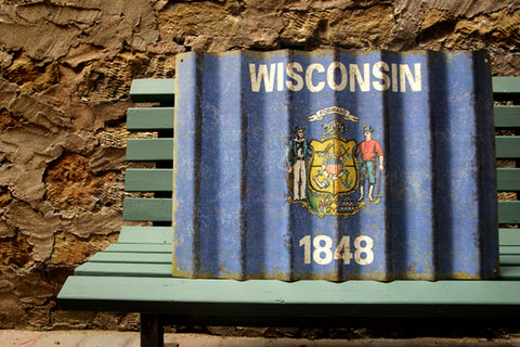 Wisconsin State Flag - Corrugated Metal Sign