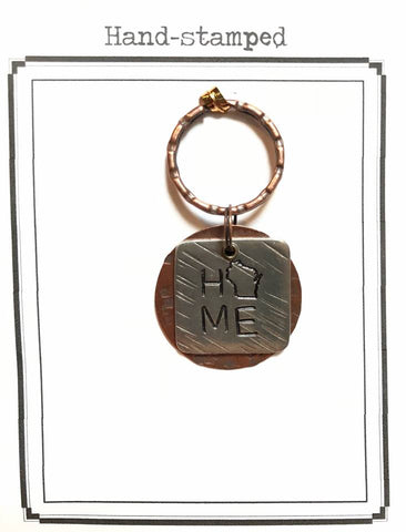 Square Pewter WI Home Keyring
