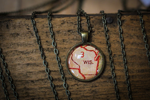 Vintage Wisconsin Map Pendant- Small