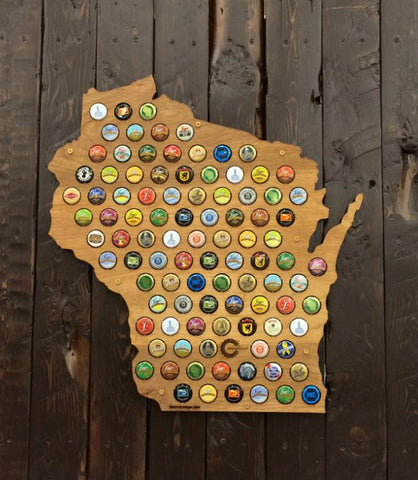 Wisconsin Beer Cap Map - Wood