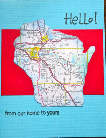 Hello WI Map Greeting Card