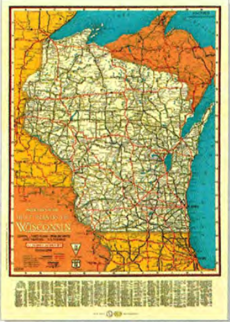 Vintage WI Road Map 1930 The Local Store