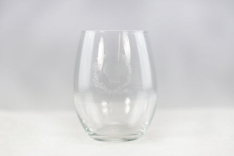 Stemless Wine Glass - WI Wreath