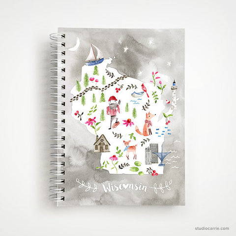 Wisconsin Collage Spiral Notebook