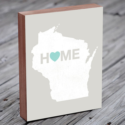 Wood Block Wall Art - (WI Home) 8x10