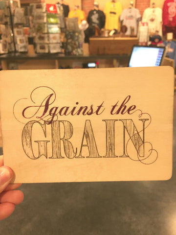 Against the Grain Wood Greeting Card