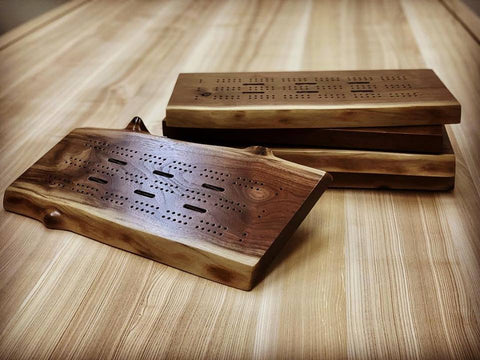 Live Edge Walnut Cribbage Board (3-Player)