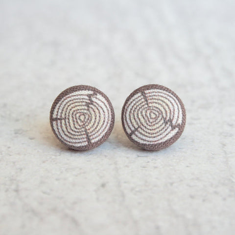 Fabric Button Earrings - Log / Wood Grain