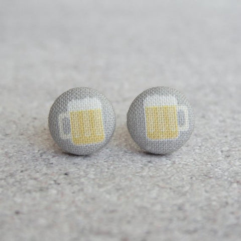 Fabric Button Earrings - Beer Mugs
