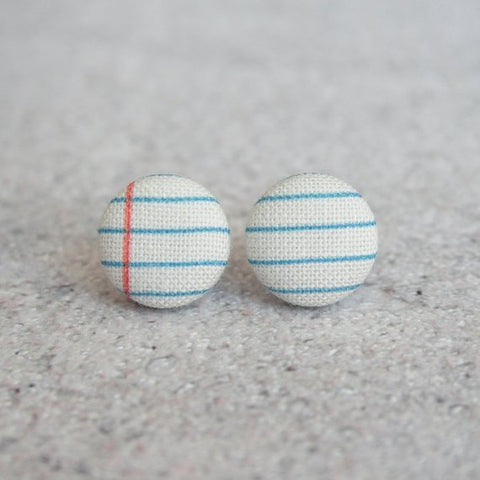 Fabric Button Earrings - Notebook Paper
