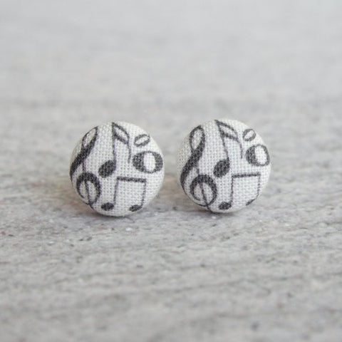 Fabric Button Earrings - Music Notes