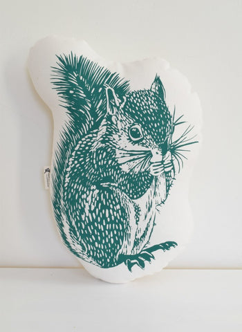 Pillow- Squirrel (Dark Green)