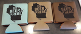 Leather Koozie - The Beer is Here