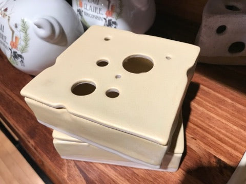 Swiss Cheese Square Porcelain Jar (w/ Lid)