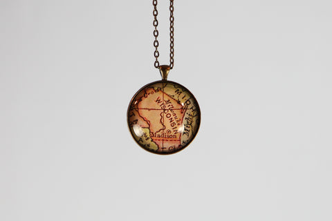 Vintage Wisconsin Map Pendant - Large