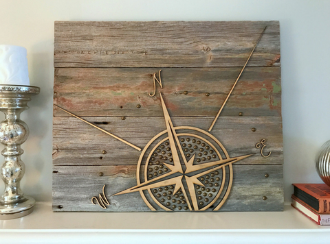 Wood Sign - Compass