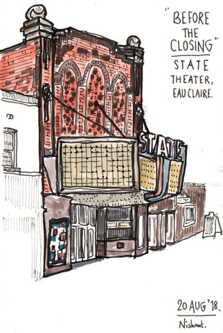 Sneaky Art-Before the Closing State Theatre Print 11x14