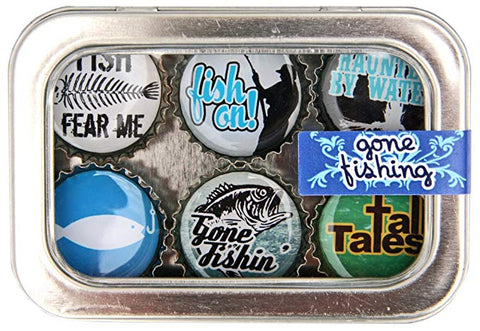 Bottle Cap Magnet Set - Gone Fishin'