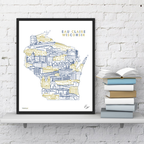Eau Claire State Illustrated Print (8x10)