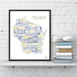 Eau Claire State Illustrated Matted Print (11x14) - Colors Vary