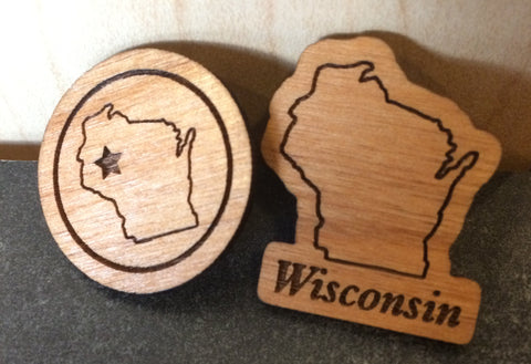Lapel Pin - Wood Eau Claire Circle Stamp