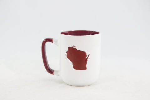 Wisconsin State Mug - Red & White