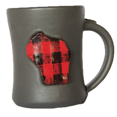 Handmade Ceramic Mug w/ Wisconsin (Charcoal Gray - assorted styles)