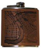 Leather Eau Claire Map Flask