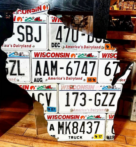 Wisconsin License Plate Sign - Large