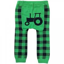 Kids Leggings - Tractor + Green