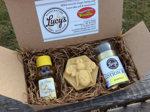 Lucy's Goat Milk Soap - Honey & Honey Bee & Energy Boxed Set