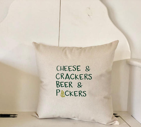 Beer & Packers Pillow - Green