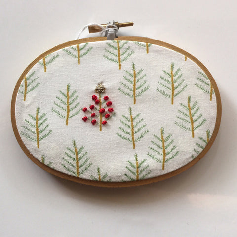 Oval Trees Embroidery Hoop