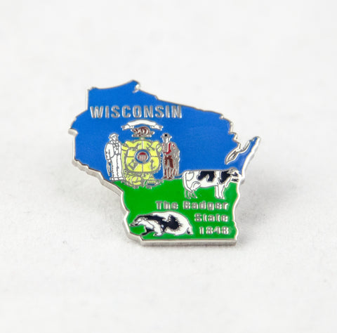 Lapel Pin - Wisconsin Farm Scene (WI Shape w/ Cows)