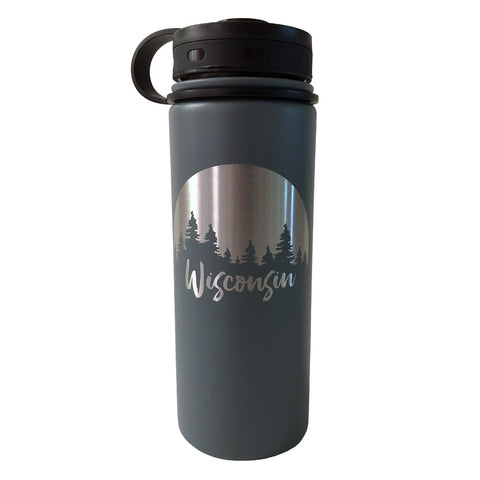 Thermal Water Bottle - Wisconsin Trees (Grey)