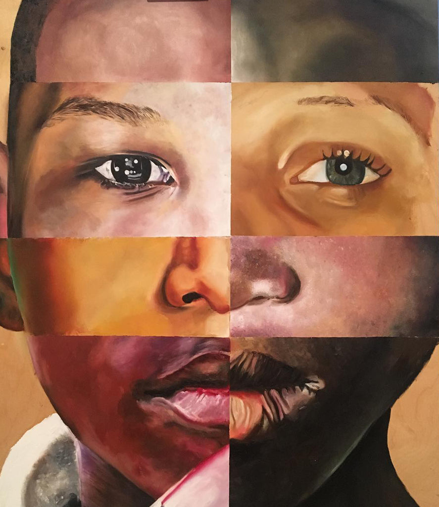 Painted collage of 8 different children's faces by Carling