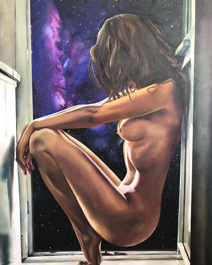 Painting of a woman sitting in an open window sill, with the universe outside
