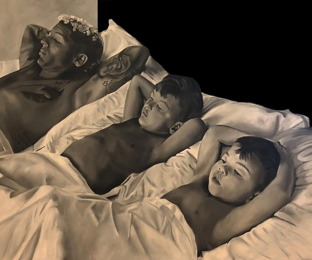 Painting of father laying in bed watching tv with two sons beside him