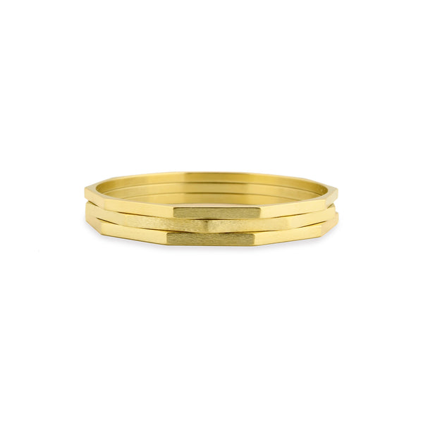 Three Gold Hex Bangle Bracelets